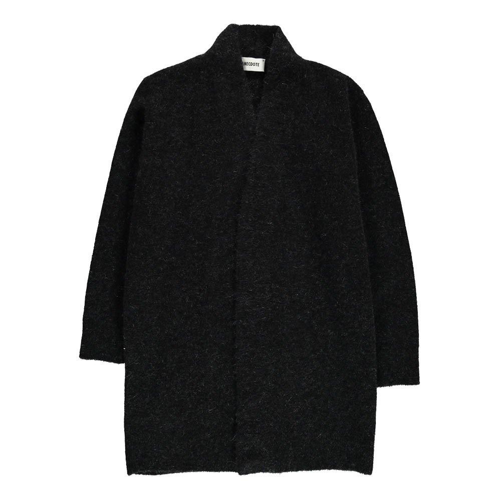 Samanta Long Wool and Mohair Cardigan Black ANECDOTE Fashion