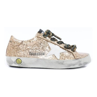 Golden Goose Leopard Lace-Up Glitter Trainers-listing