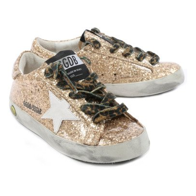 Golden Goose Baskets Basses Glitter Lacets Leopard Superstar-listing