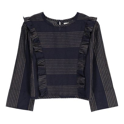 Polder Girl Cassis Lurex Ruffle Striped Cotton and Linen Blouse-listing