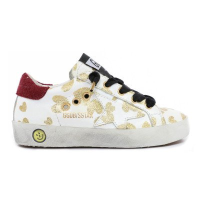 Golden Goose Superstar Glitter Heart Leather Trainers-product