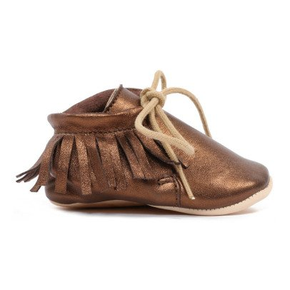 Easy Peasy Meximoo Fringed Leather Slippers-listing