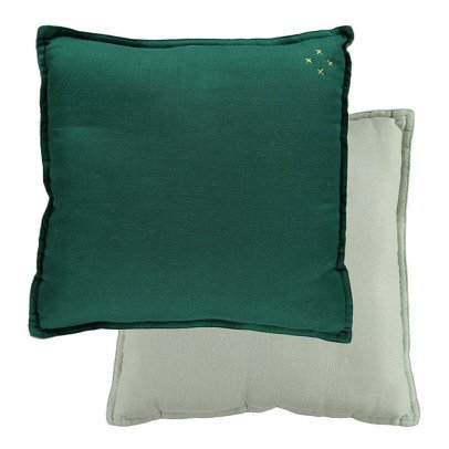 Camomile London Coussin réversible Vert sapin-Menthe-listing