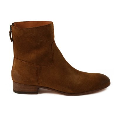 Anthology Paris Suede Zip-Up Flat Boots-listing