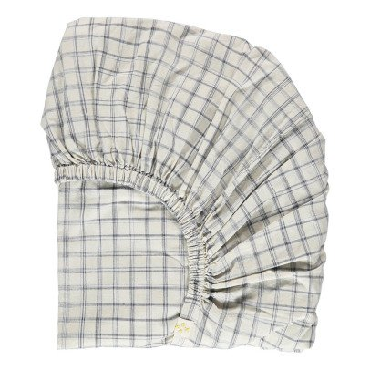 Camomile London Ikat Checked Fitted Sheet-listing