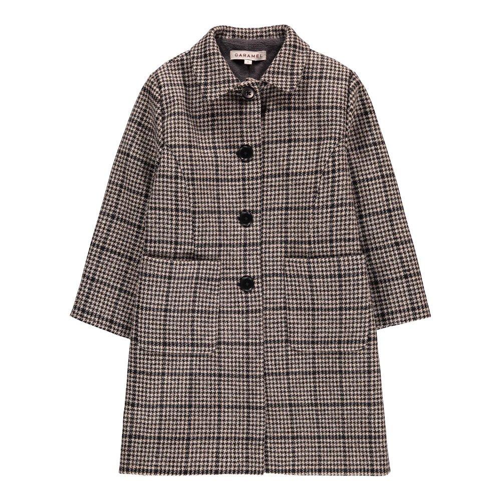 manteau laine shetland pied de poule windsor gris caramel mode. Black Bedroom Furniture Sets. Home Design Ideas