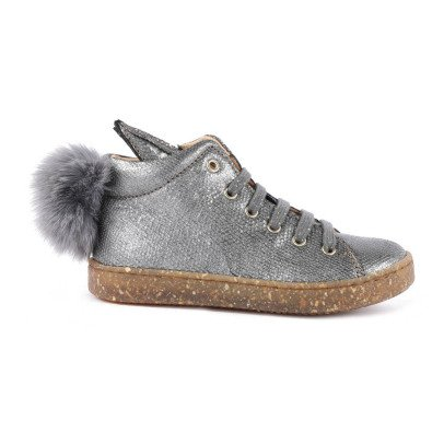 Ocra Rabbit Pompom Zip-Up Trainers-listing