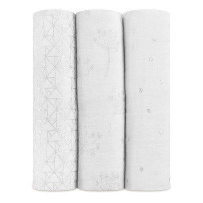 aden + anais  Metallic Plaid-Swaddling Blankets 120x120cm - Pack of 3-listing