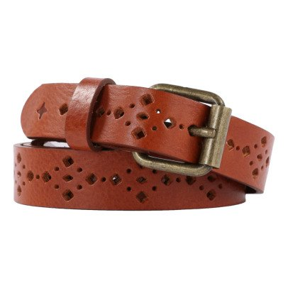 Sessun Honey Perforated Leather Belt-listing