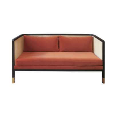 Red Edition 2er-Sofa Geflochten- Velours-listing