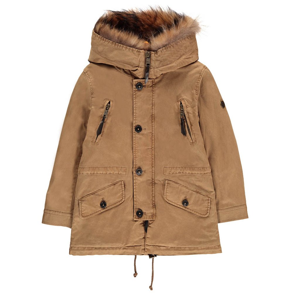 Aspen Fur Lined Hooded Parka Camel Blonde No.8 Fashion Teen ,