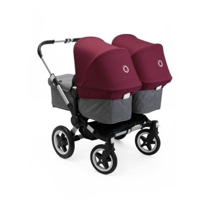 Bugaboo Poussettte Donkey²  twin complète chassis alu/gris chine/rouge rubis-listing