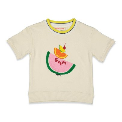 ANNE KURRIS Mowgli Embroidered Fruit Short Sleeve Sweatshirt-listing
