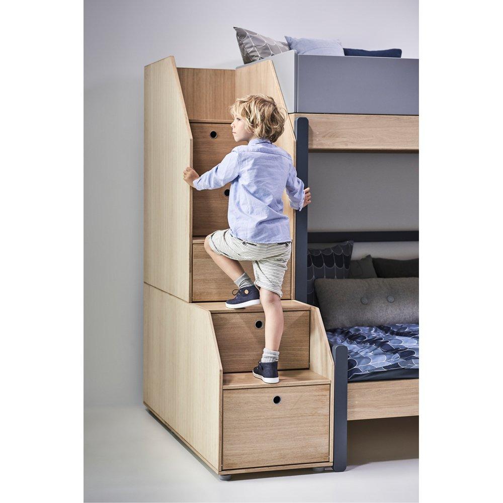 lit mezzanine escalier rangement popsicle 90x200 cm bleu flexa. Black Bedroom Furniture Sets. Home Design Ideas