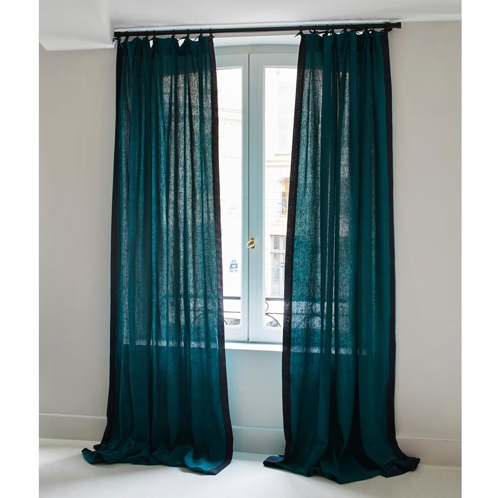 rideau ava en lin 100x300 cm chin noir bleu sarah maison. Black Bedroom Furniture Sets. Home Design Ideas