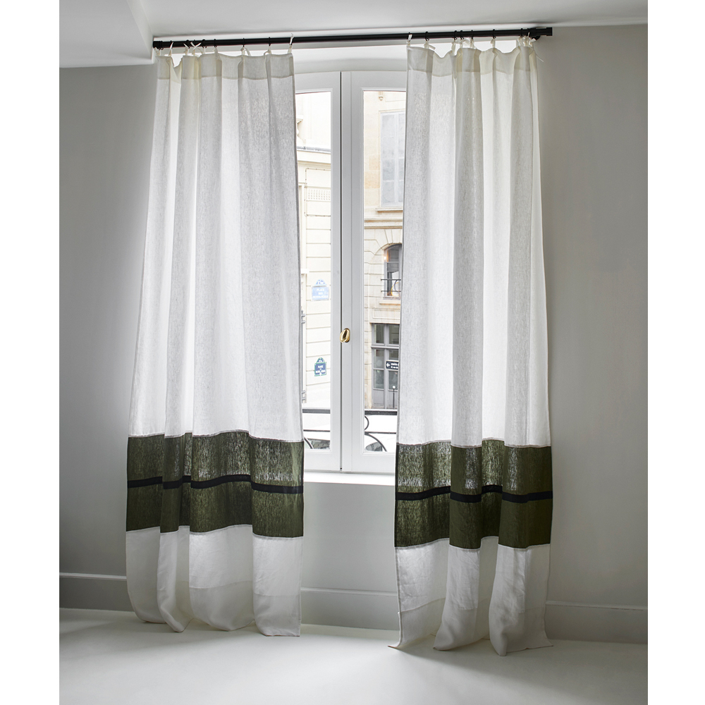 linen pom curtains nursery with panels ivory curtain trim kids p baby