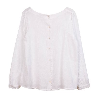 Emile et Ida Buttoned Back Cotton Voile Blouse - Women's Collection-listing