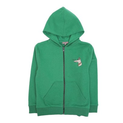Emile et Ida Embroidered Crocodile Zip-Up Hoodie-listing