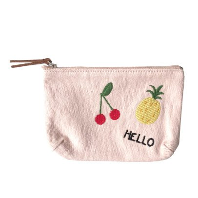 "Emile et Ida Fruit ""Hello"" Embroidered Pencil Case-listing"
