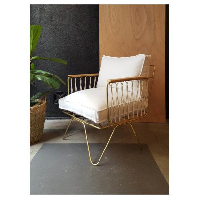 Honoré Croisette Matte Gold Cotton Armchair-listing