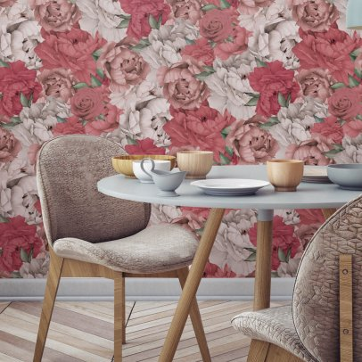 Papermint Papier-peint Paeonia Traditional-listing