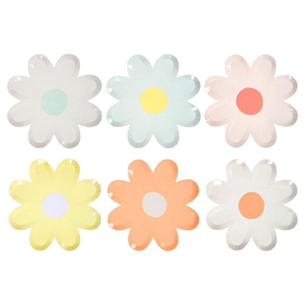 Daisy Paper Plates - Set of 12 Multicoloured Meri Meri Design