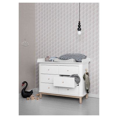 Oliver Furniture Oak 6 Drawer Changing Table with Small Changing Mat-listing