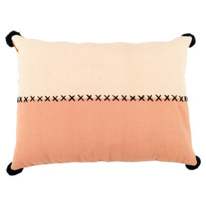 Smallable Home Cuscino bicolore con pompon -listing