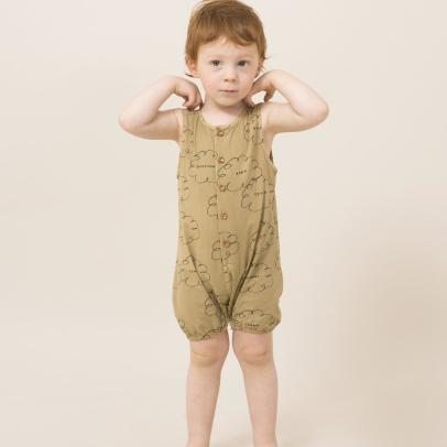 Bobo Choses Organic Cotton Cloud Buttoned Playsuit-listing
