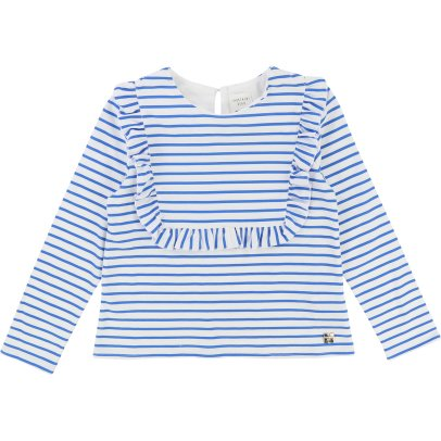 CARREMENT BEAU Ruffled Stripe T-Shirt-listing