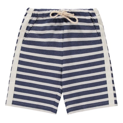 Il Gufo Striped Sweat Shorts with Adjustable Waist-listing