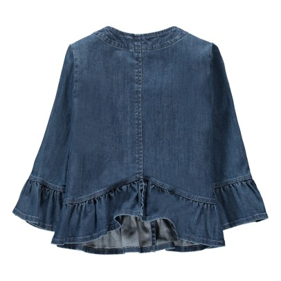 Il Gufo Ruffled Popper Denim Jacket-listing