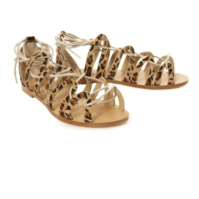 Anniel Leopard Lace-Up Flat Sandals-listing