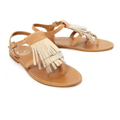 Gallucci Irridescent Fringe Leather Sandals-listing