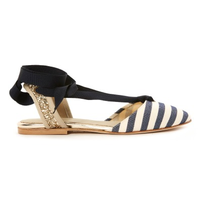 Anniel Glitter and Stripe Lace-Up Espadrilles-listing