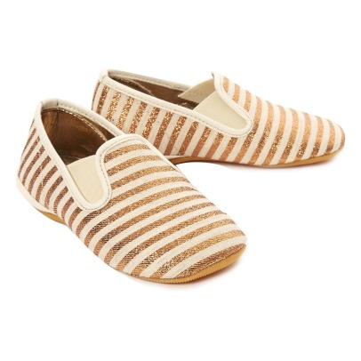 Gallucci Lurex Striped Elasticated Slippers-listing