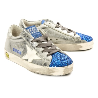 Golden Goose Baskets Basses Cuir Métallisé Bout Bleu Pailleté Superstar-listing