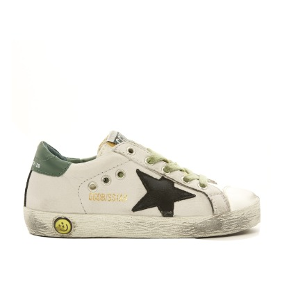 Golden Goose Sneakers con retro in camoscio verde e stella nera Superstar -listing