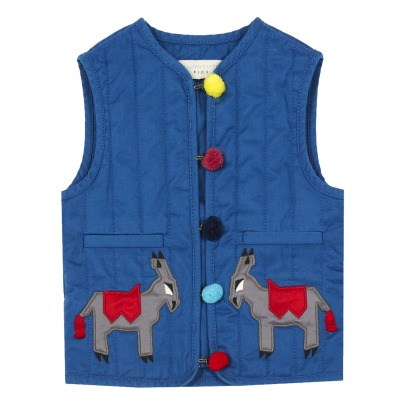 Stella McCartney Kids Twister Donkey Pompom Organic Cotton Gilet-listing