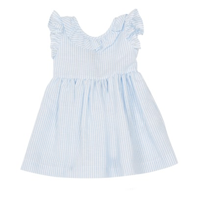 Il Gufo Bow Back Stripe Ruffled Dress-listing