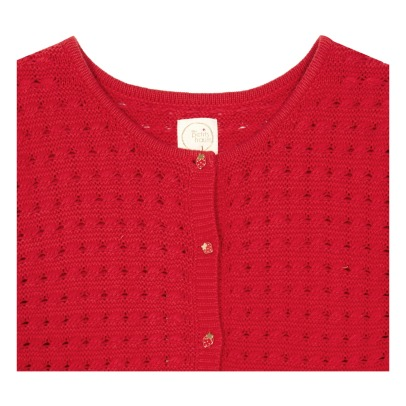 Des petits hauts Blassi Strawberry Buttoned Cardigan-listing