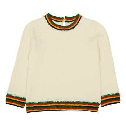 Stella McCartney Kids Faith Contrasting Edge Organic Cotton Jumper-listing