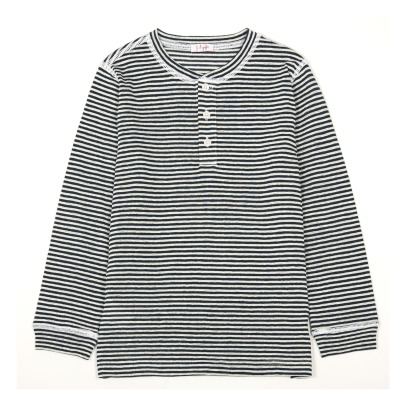 Il Gufo Stripe Buttoned Officer Collar T-Shirt-listing