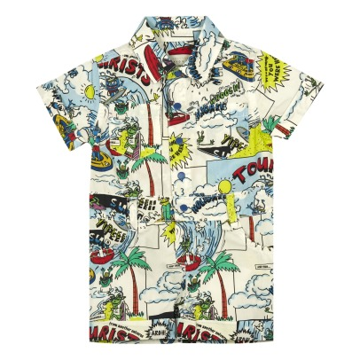 Stella McCartney Kids James Comic Strip Organic Cotton Playsuit-listing