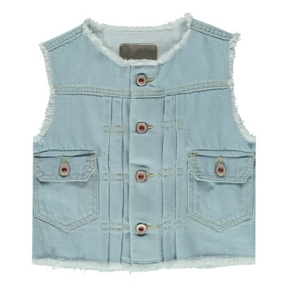 Bellerose Pastel81 Frayed Sleeveless Denim Jacket-product
