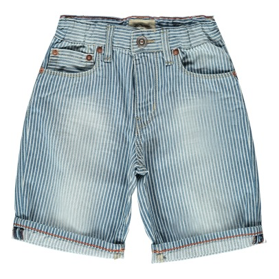 Bellerose Padro81 Striped Washed Denim Shorts-listing