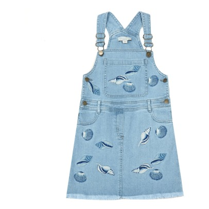 Stella McCartney Kids Sunflower Embroidered Shell Dungaree Dress-listing