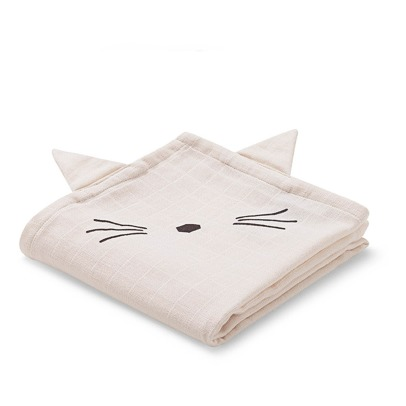 Liewood Hannah Organic Cotton Muslin Cat Swaddles - Set of 2-listing