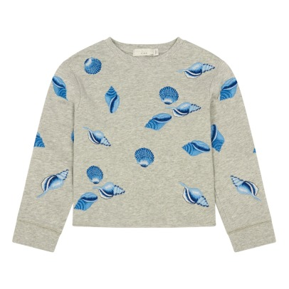 Stella McCartney Kids Felpa cropped stampa conchiglie in cotone bio con ricami June-listing