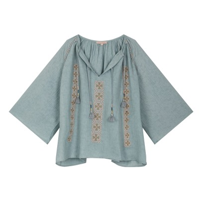 Louise Misha Muri Cotton and Linen Embroidered Blouse - Women's Colllection-listing